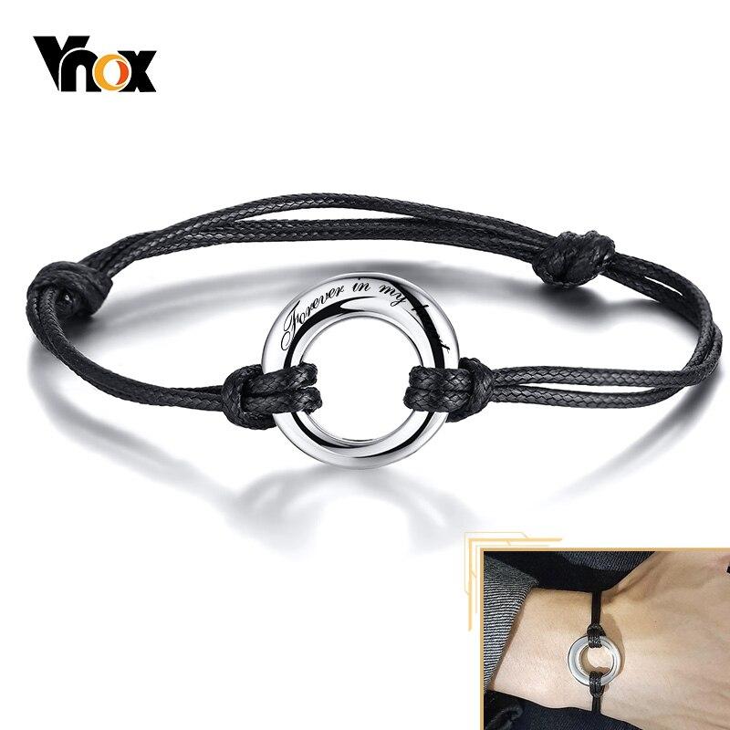 Vnox Freies Custom Urne Asche Armbänder für Männer Frauen Einstellbare Seil Kreis des Lebens Ewigkeit Memorial Geschenke Feuerbestattung Schmuck