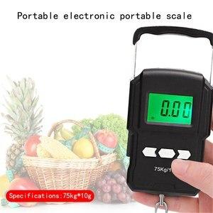 Báscula electrónica de 75Kg/10g, 50Kg/5g, LCD Digital, gancho para colgar pantalla, escala con cinta medidora para viajes de pesca