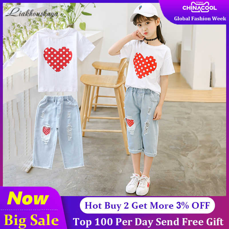 2020 Teenage Girls Clothing Sets Patchwork T-shirt+jeans Fashion Tops Denim Pants Jeans For Girls Clothes 6 7 10 11 12 14 Years
