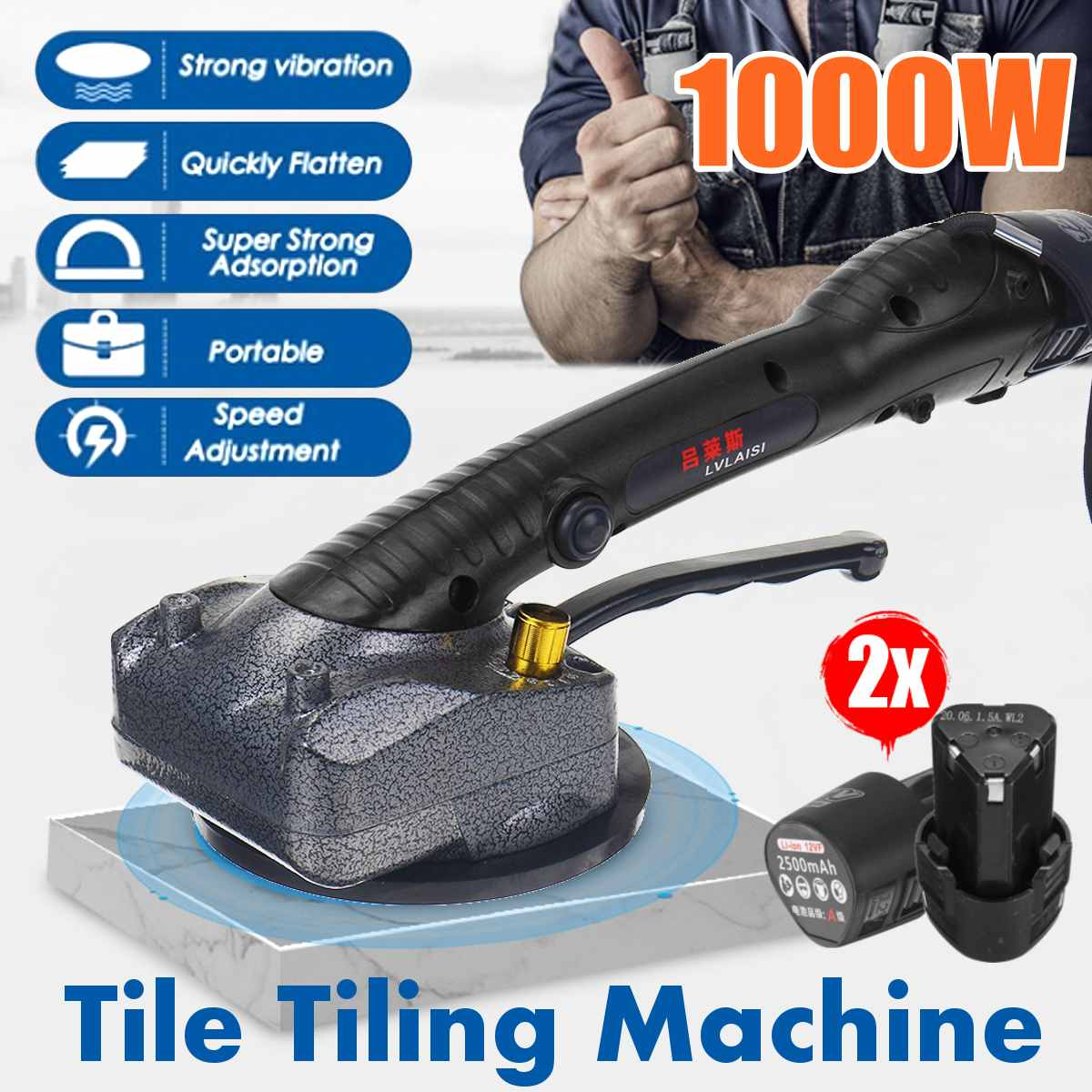 1000W vibrator for tiles 80x80cm tiling Plastering machine laying tiles with 2x2500mAh battery automatic floor vibrator leveling