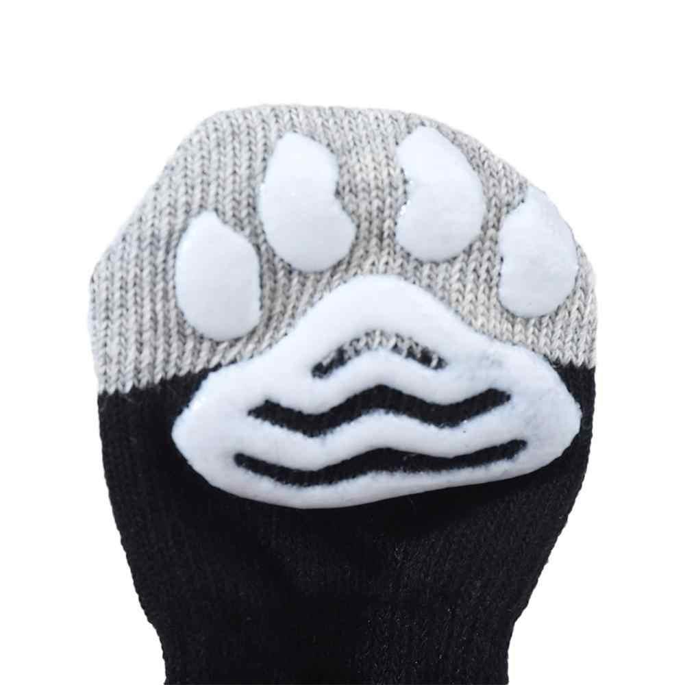4 Pcs/set Anti Gores PET Kucing Anjing Musim Dingin Kapas Kaus Kaki Lucu Anak Anjing Kucing Perlindungan Pakaian Knits Kaus Kaki Anti slip Skid Bawah