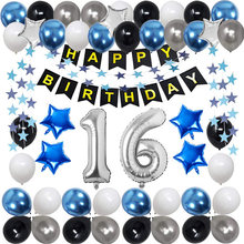 Amawill Blue Silver Metal Latex Balloons 16Th Birthday Decoration 16 Years Adult Number Anniversary Party Decor Supplies Globos