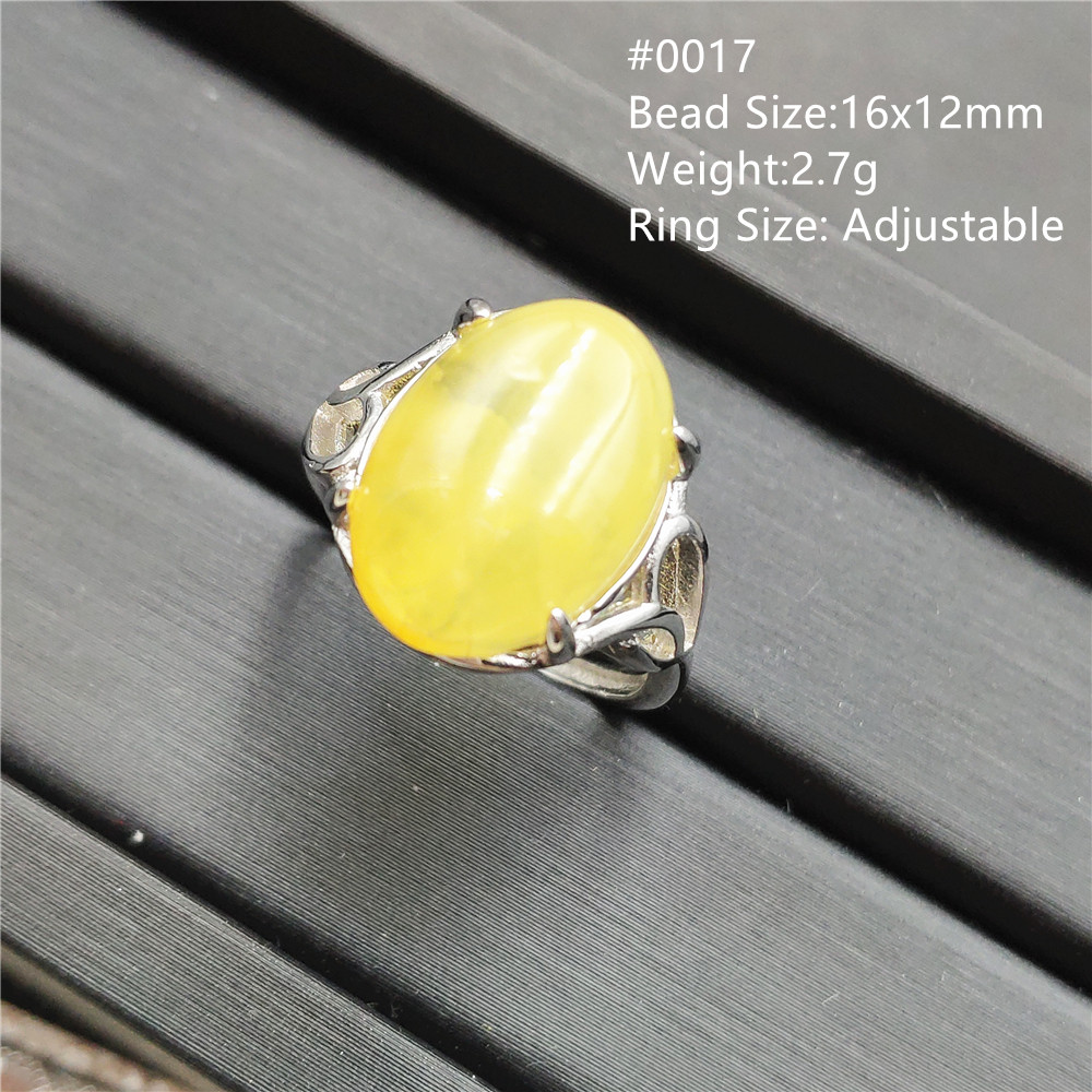 Natural Yellow Amber Adjustable Size Ring Gemstone For Woman Lady Wedding Stone Sterling Silver Rings Jewelry AAAAA