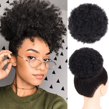 Afro Kinky Curly Ponytail Chignon For Women Natural Black Remy Hair Clip In Ponytails Drawstring 100% Human Hair Extension 1 PCS eseewigs afro kinky curly human hair ponytail for women natural color remy hair 1 piece clip in drawstring 4b 4c ponytails