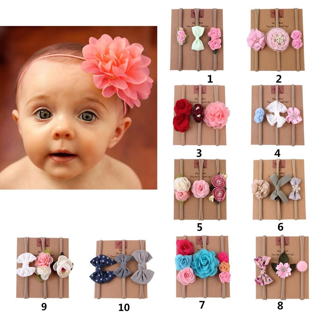 3PCS Newborn Baby Girls Flower Headband Infant Toddler Knot Hair Band Sets