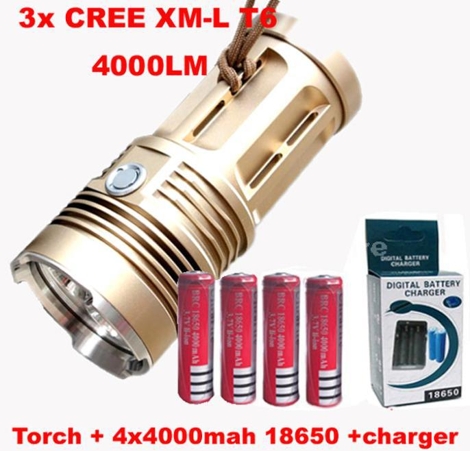 WasaFire 3 X XML T6 LED Flashlight 4000 Lumen 3 Mode Torch Lamp Waterproof Camping Light with 18650 Battery+Charger