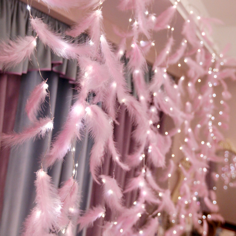 LED Night Light Feather USB String Lights DIY Lamp Home Decoration Girls Room Ornament