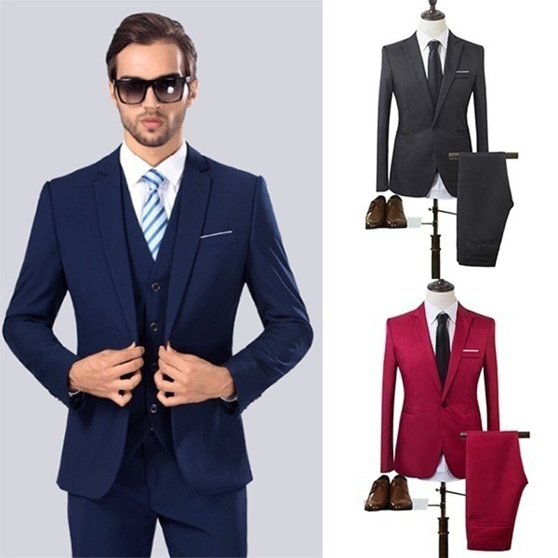 ZOGAA High Quality 2019 Men's Fashion Slim Suits Men Business Casual Groomsman 2pcs Wedding Suit Jacket Pants Trousers Sets