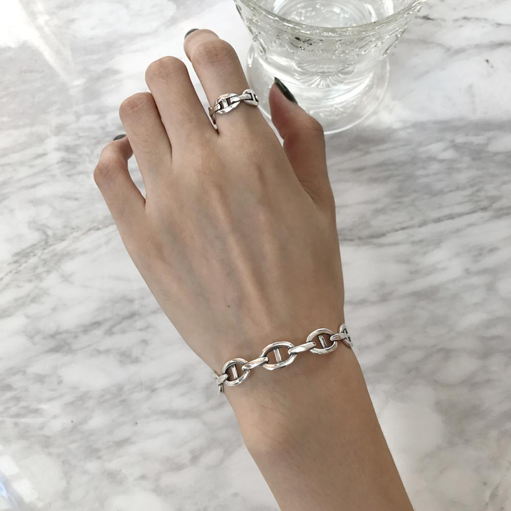 S925 Sterling Silver Buckle Opening Simple Geometric Thin Line Bangle Silver Women's Jewelry