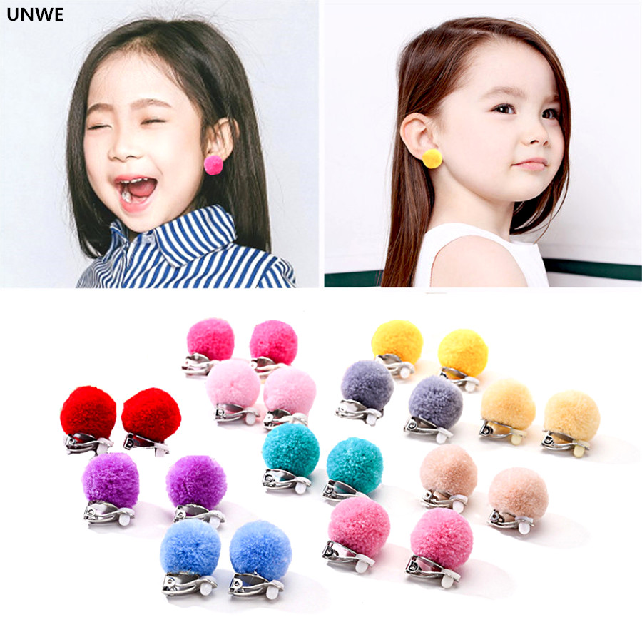 Cushion Earring-Clips Pompon No-Pierced Invisible Lady/girls Sweet For Nifty Kids UNWE