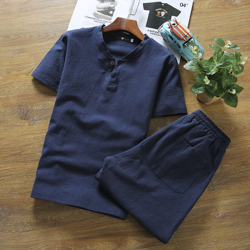 2019 Summer Wear Men Fashion Flax Short-sleeved Top Shorts Set Men Cotton Linen Casual Two-Piece Set