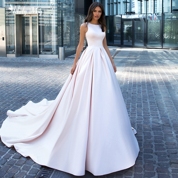 Adoly Mey Elegant O-Neck Illusion Back Satin A-Line Wedding Dress 2020 Luxury Beaded Appliques Chapel Train Princess Bride Gown