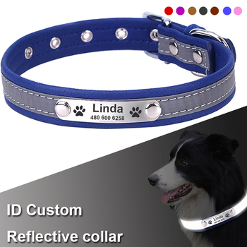 Reflective Personalized Dog Collar Leather Engrave Name Phone Number Puppy Nameplate