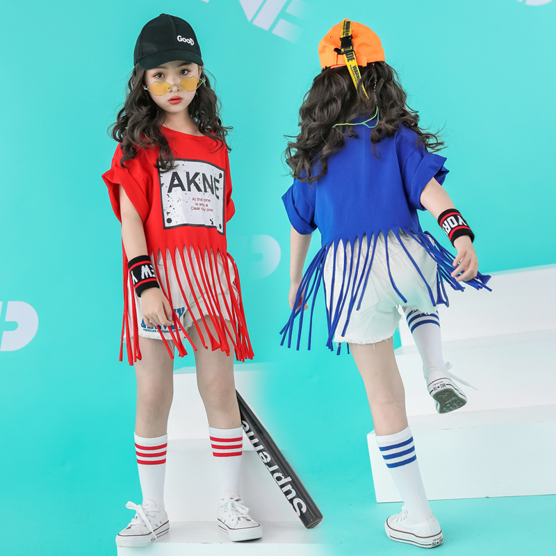 Costumes-Wear T-Shirts Kids Striped Blue Unisex Red Panelled Harem Jazz Dance-Tassel
