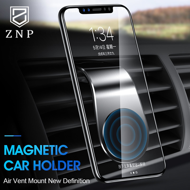 ZNP Metal Magnetic Car Phone Holder L Shape Air Vent Mount Stand In Car GPS Mobile Phone Holder For IPhone X XS 7 8 Magnet Stand
