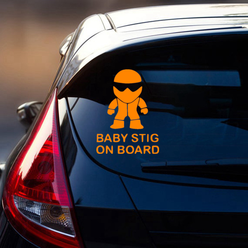 Baby Stig on Board Car Sticker Decal 6L Racing Truck Wall Laptop Windshield Funny