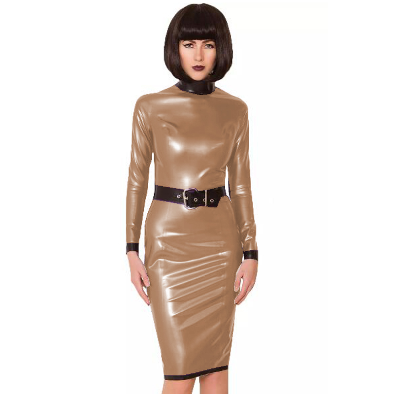 24 Colors Back Zipper Long Sleeve Knee Length Dress Lady Slim Vestido Fashion Patchwork Color Midi Dress Sexy Stage PVC Clubwear 15