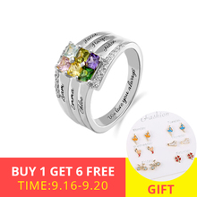 XiaoJing 925 Sterling Sliver Personalized Engraved Family Ring with Six Birthstone Custom Jewelry for Women Mother Gifts 2019 xiaojing 925 sterling silver personalized family tree ring with birthstone women fashion ring mother s day gift free shipping