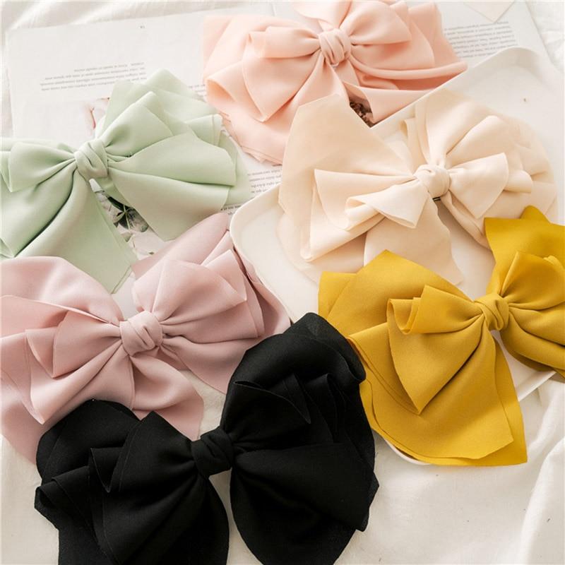 2020 Chiffon Bow Knot Hair Clip Headband For Women Girls Sweet Hair Ornament Hairpin Hairgrip Fashion Hair Accessories