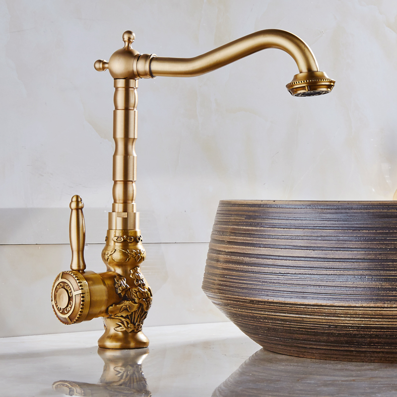 Copper European Brass Kitchen Faucet Antique Retro Carving Basin Faucet With Cold And Hot Stage Artistic Basin Mixer Taps