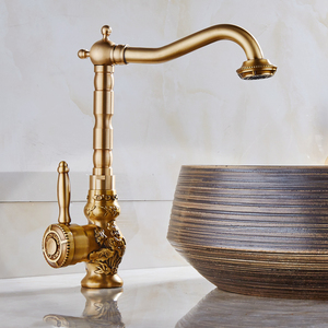 Copper European brass kitchen faucet antique retro carving basin faucet with cold and hot stage artistic basin mixer taps(China)