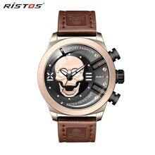 RISTOS 3D череп Личность Ретро Мода Мужские часы Прохладный Череп мужской роскошный бренд часов кварцевые Креативные Часы Relogio Masculino