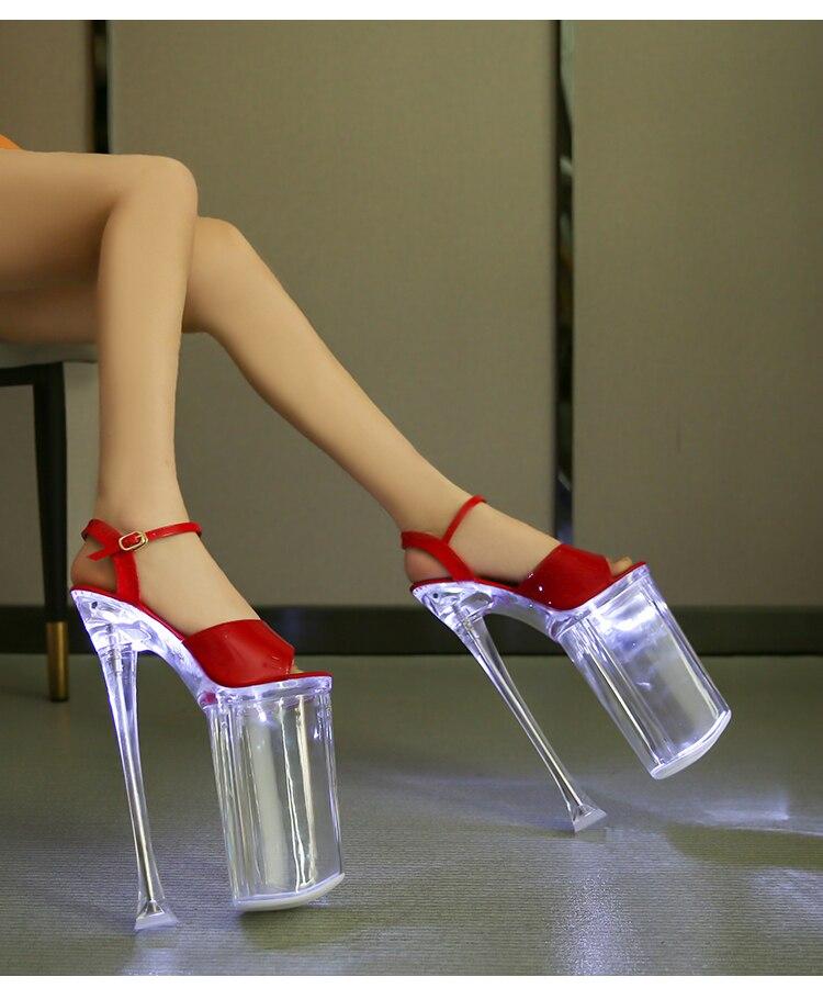 brilho sandálias mulher verão claro plataforma stiletto