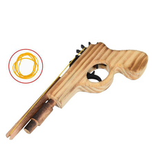 цена на 3D DIY Wooden Toy Gun Bullet Rubber Band Launcher Wood Simulation Gun Hand Pistol Guns Shooting Toy Boys Outdoor Fun For Kids