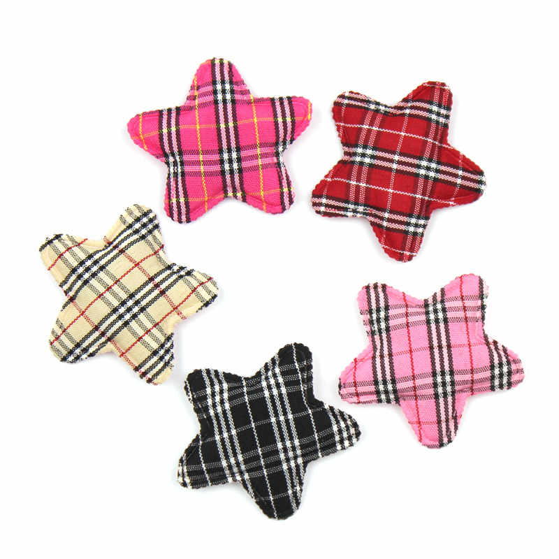 30 Uds. 4cm Gingham Star Shape Padded Appliques para manualidades infantiles DIY BB Clip pelo sombrero decoración ornamental accesorios al por mayor