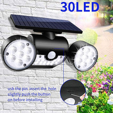 Solar Wall Light Floodlights 30 Leds Human Body Induction Lamp Courtyard Landscape Street Lamp Double Head Rotary Lighting
