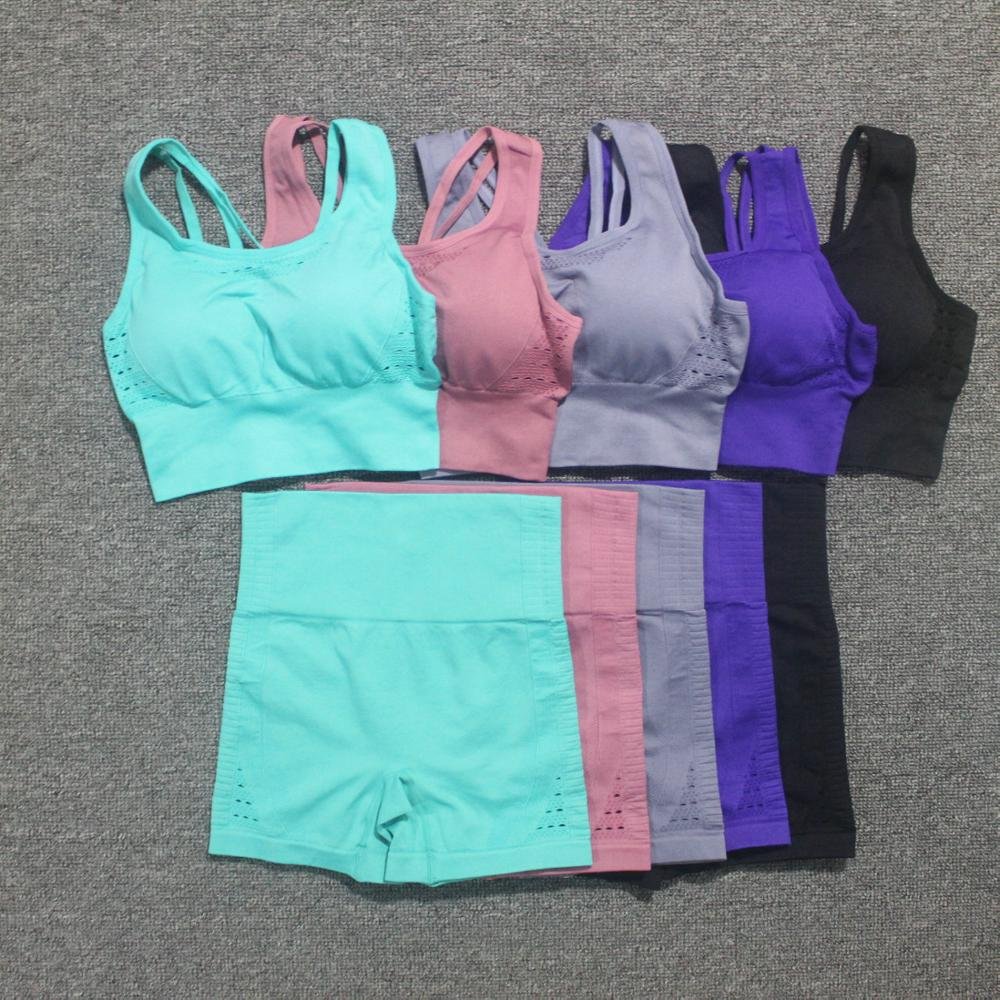 New 2PCS Seamless Sport Sets Women Back Cross Straps Yoga Bra Fitness Clothing+High Waist Gym Shorts Sport Leggings Workout Set
