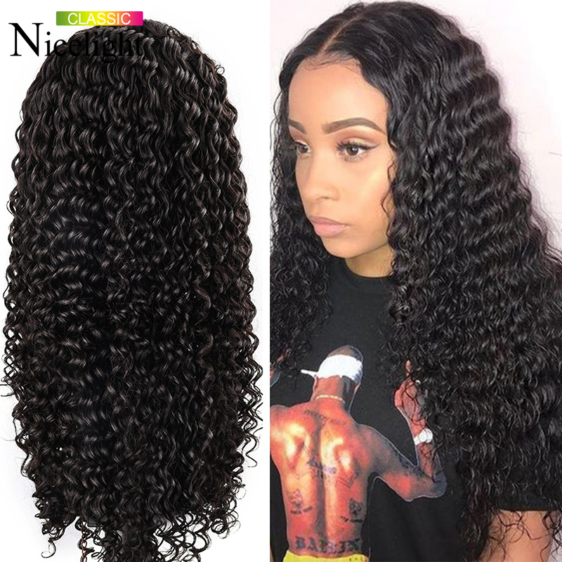 Nicelight Hair Deep Wave Wigs 4X4 Lace Closure Wigs Indian Human Hair Wigs Natural Color 100% Remy Hair Wigs For Black Women