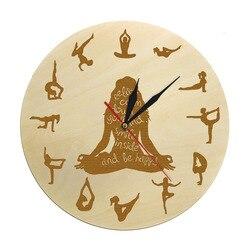 Yoga poz ahşap duvar saati Fitness ev dekor meditasyon manevi Yoga sessiz sigara geçiyor duvar saati Yoga stüdyosu Zen duvar sanatı