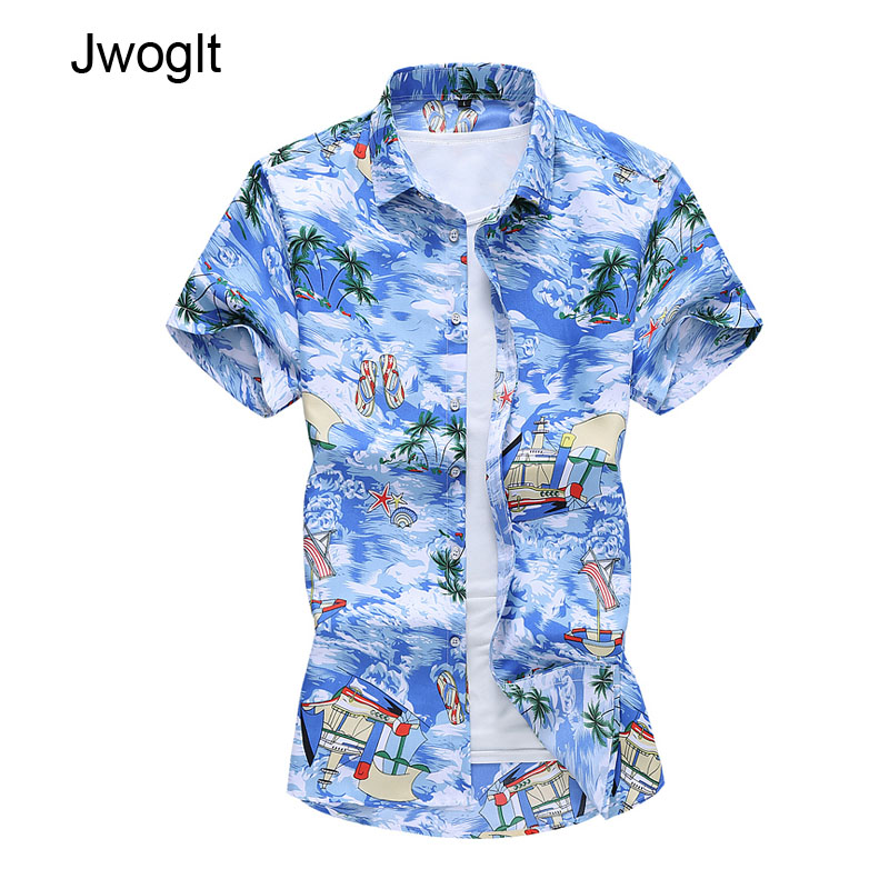 45KG-120KG 2020 Summer Fashion Men's Short Sleeve Casual Shirts Regular Fit Hawaiian Beach Holiday  5XL 6XL 7XL