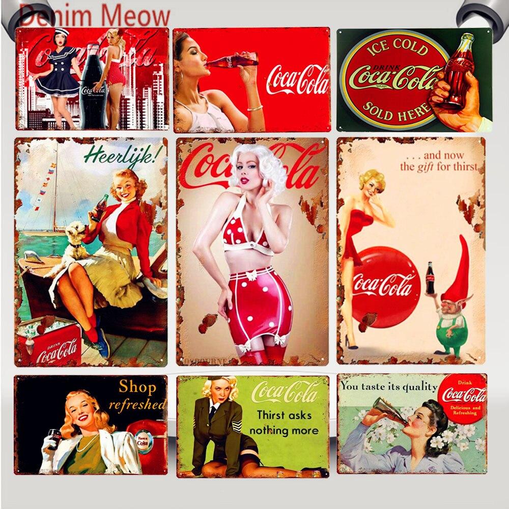 Pin Up fille glace boissons froides Cola décor Sexy dame Vintage métal étain signes peinture Plaque Pub Bar café magasin mur Art affiche WY65