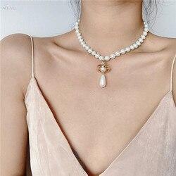 AOMU 2020 Retro Baroque Color Rhinestone Design Planet Pendant Necklace Temperament Clavicle Chain For Women Jewelry Party Gifts