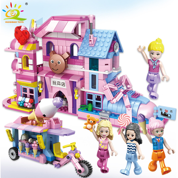 HUIQIBAO 678Pcs City Shoemaker Toy Store Bricks Street View Building Blocks Girl Friends Figures Tricycle Toys For Children