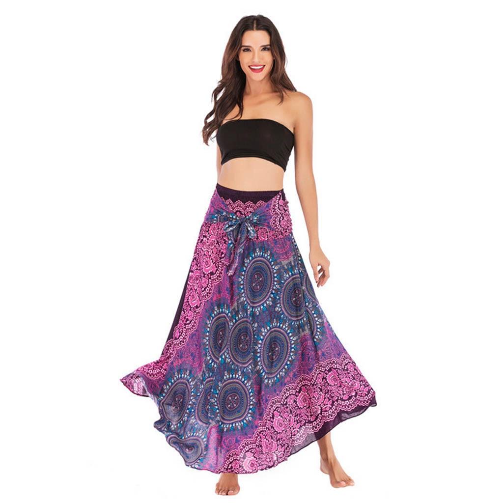 KLV Women's skirt юбка faldas largas mujer moda חצאיות rokken Bohemian Gypsy bow Flowers Elastic Floral Hlater maxi skirt #3