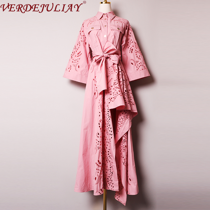 VERDEJULIAY High Quality 100% Cotton European Vintage Irregular Party Dresses Flower Hollow Out Luxury Embroidery Maxi Dress