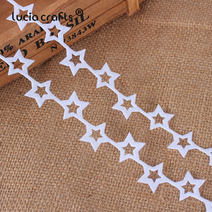 Image 4 - 5yards 25/35mm Non woven Ribbons Fabric Star Snowflake Trim Lace DIY Crafts Hanging New Year Christmas Tree Decoration B1209