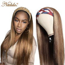 Игрока Nadula Выделите прямые человеческие волосы парик с головной повязкой с 12-26 дюймов парик с головной повязкой человеческие волосы 150% плот...