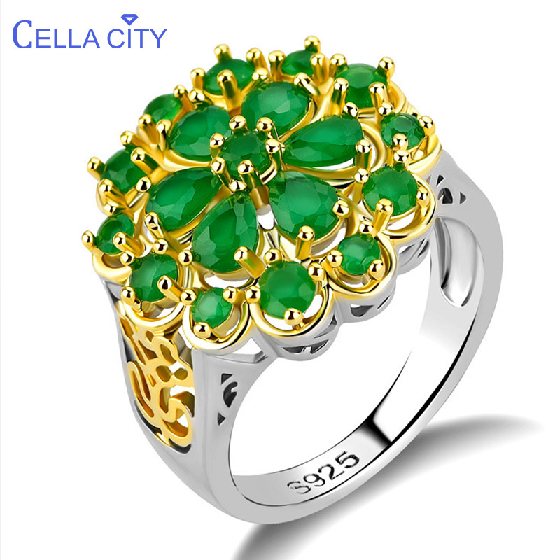 Cellacity Luxury Flower Design Hollow out Silver 925 Jewelry Gemstones Emerald Ring for Women Creative Female Anniversary Gift