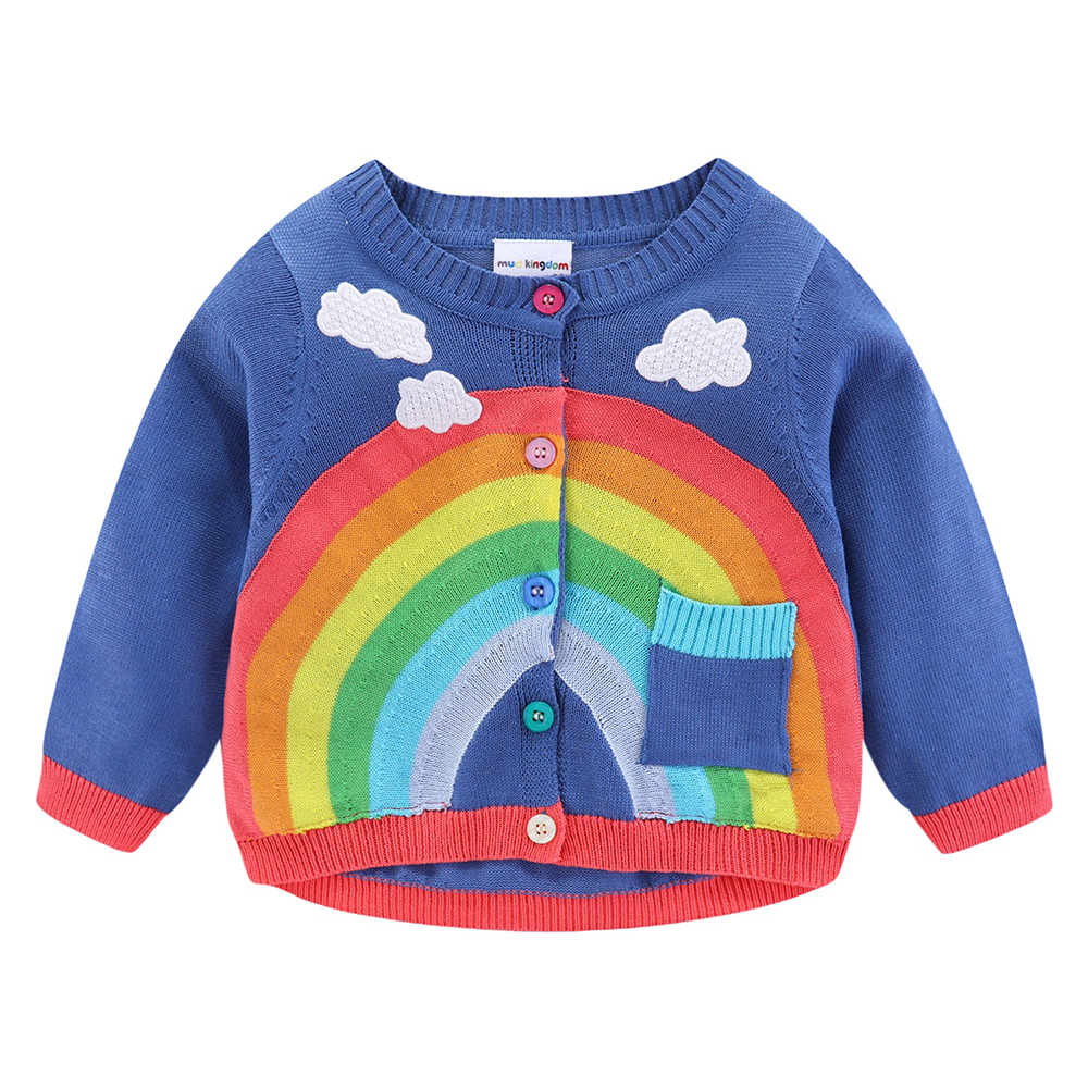 Mudkingdom Girls Boys Knitted Cardigan Sweater Rainbow Clouds Thin Outerwear Tops for Kids 2