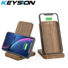 KEYSION 10W Qi Wireless Charger for Samsung Note 10+ Xiaomi Mi9 Huawei Mate 20 Pro Wood Fast Charging Pad For iPhone XR XS Max X