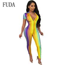 FUDA Plus Size XXL Short Sleeve Deep V-neck Zipper Bodycon Playsuits Summer Fashion Women Print Jumpsuits Long Striped Overalls