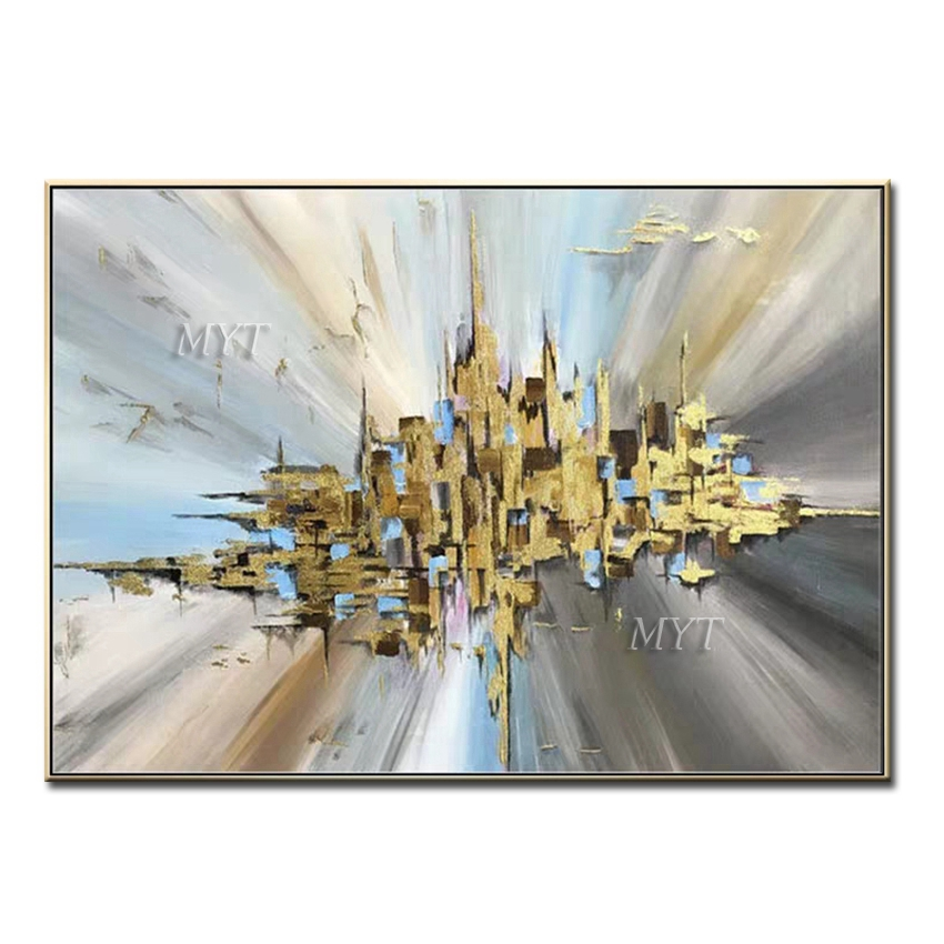 City Of Sky Abstract Oil Painting Modern Wall Art Living Room No Frame Picture Home Decoration Painting 100% Handmade No Framed