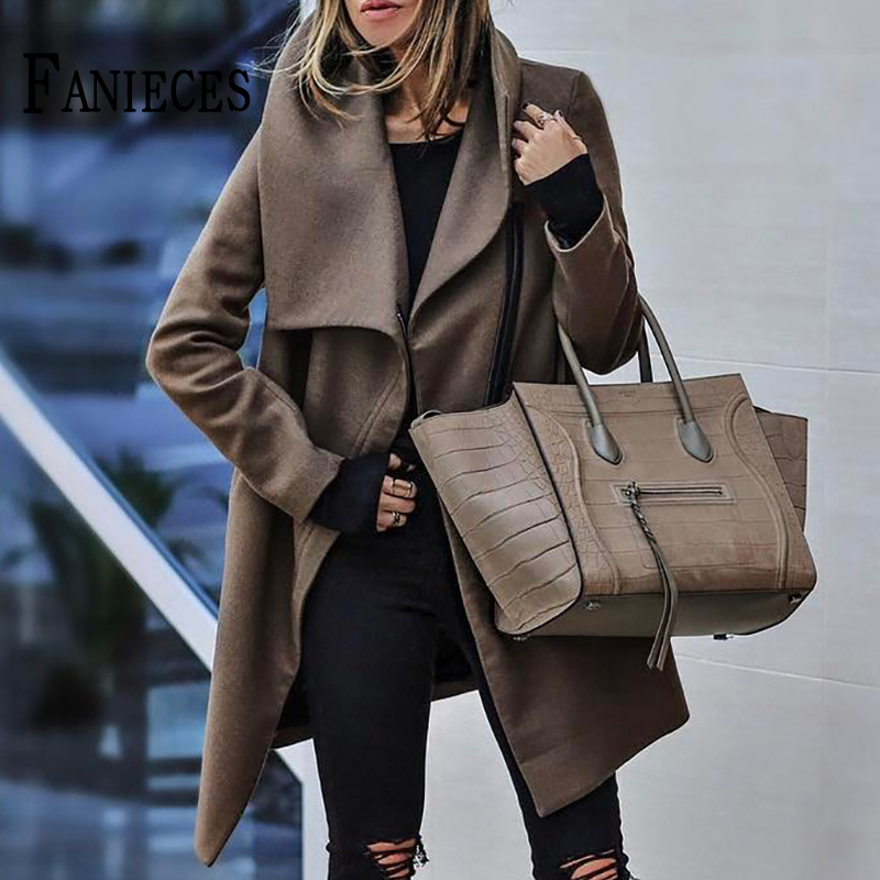 Women Autumn Winter Brown Woolen Coat Outwear Office Ladies Long Sleeve Zipper Wool Coats Woman Loose jacket