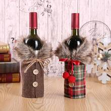 Christmas Plush Plaid Bow Wine Bottle Cover Coat Beer Champagne Bottle Cover Party Ornament Table Xmas Christmas Decoration 2019(China)