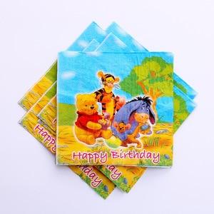 Image 3 - Childrens birthday party supplies Winnie the Pooh cartoon theme set Baby birthday dress set supplies cups dish straw tablecloth