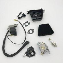 Carburador filtro de ar bobina de ignição módulo spark plug kit apto parceiro 350 351 370 371 420 peças motosserra walbro 33 29 carb